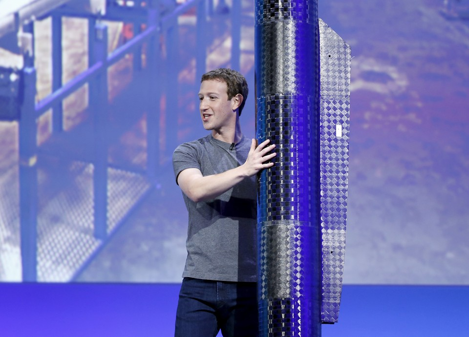 Facebook CEO Mark Zuckerberg holds a propeller pod of the solar-powered Aquila drone on stage during a keynote at the Facebook F8 conference in San Francisco, California April 12, 2016. Facebook Inc said July 21, 2016, it had completed a successful test flight of a solar-powered drone that it hopes will help it extend internet connectivity to every corner of the planet. REUTERS/Stephen Lam/File Photo - RTSJ3XN