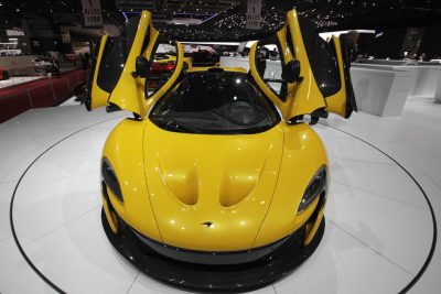 The McLaren P1 car is pictured during the second media day of the 83rd Geneva Car Show at the Palexpo Arena in Geneva March 6, 2013. The Geneva Motor Show will take place from March 7 to 17, 2013. REUTERS/Denis Balibouse (SWITZERLAND - Tags: TRANSPORT BUSINESS) - RTR3EMV3